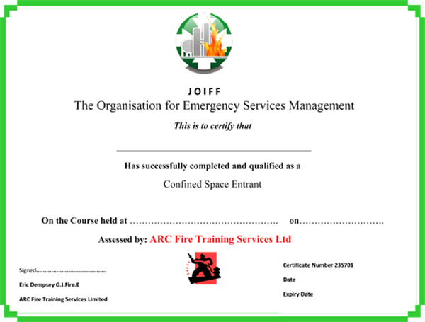 h2s certification card template - arc fire training services confined space training